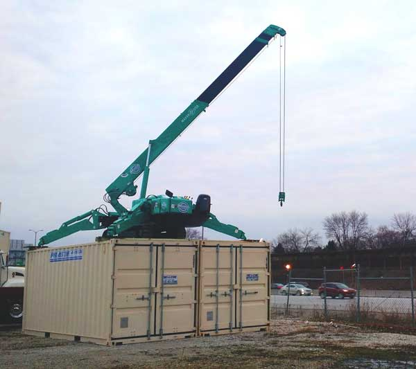 Crane on top of Container