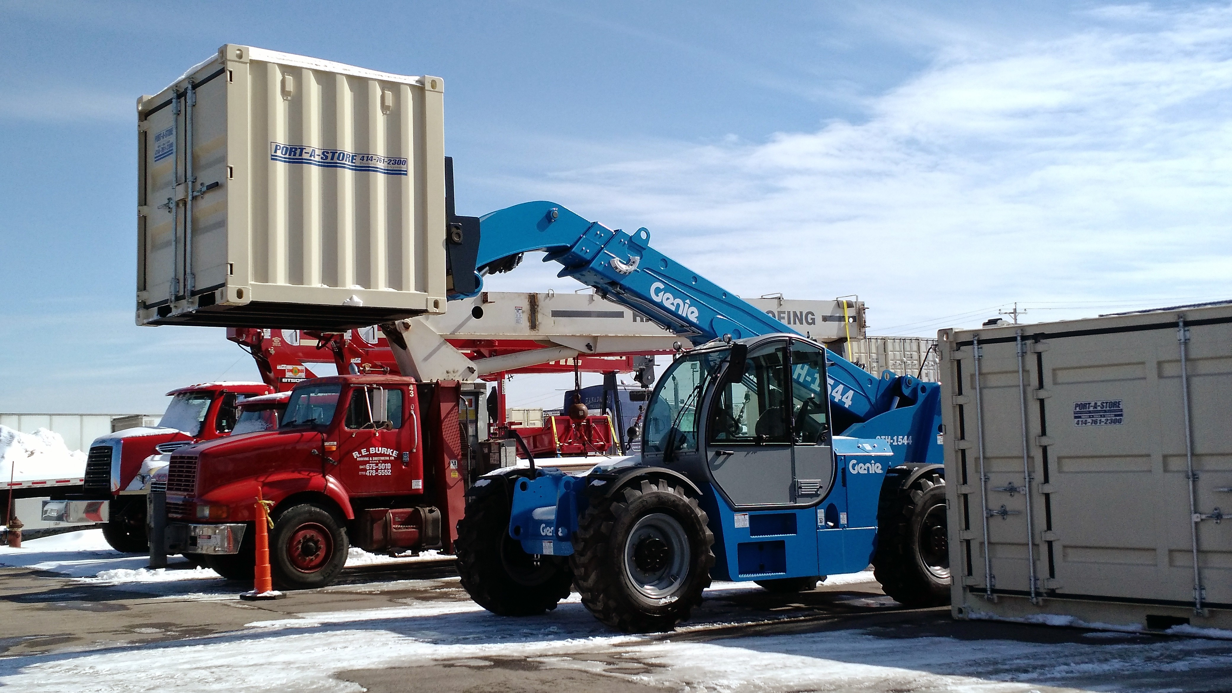 Storage container on Telehandler forklift